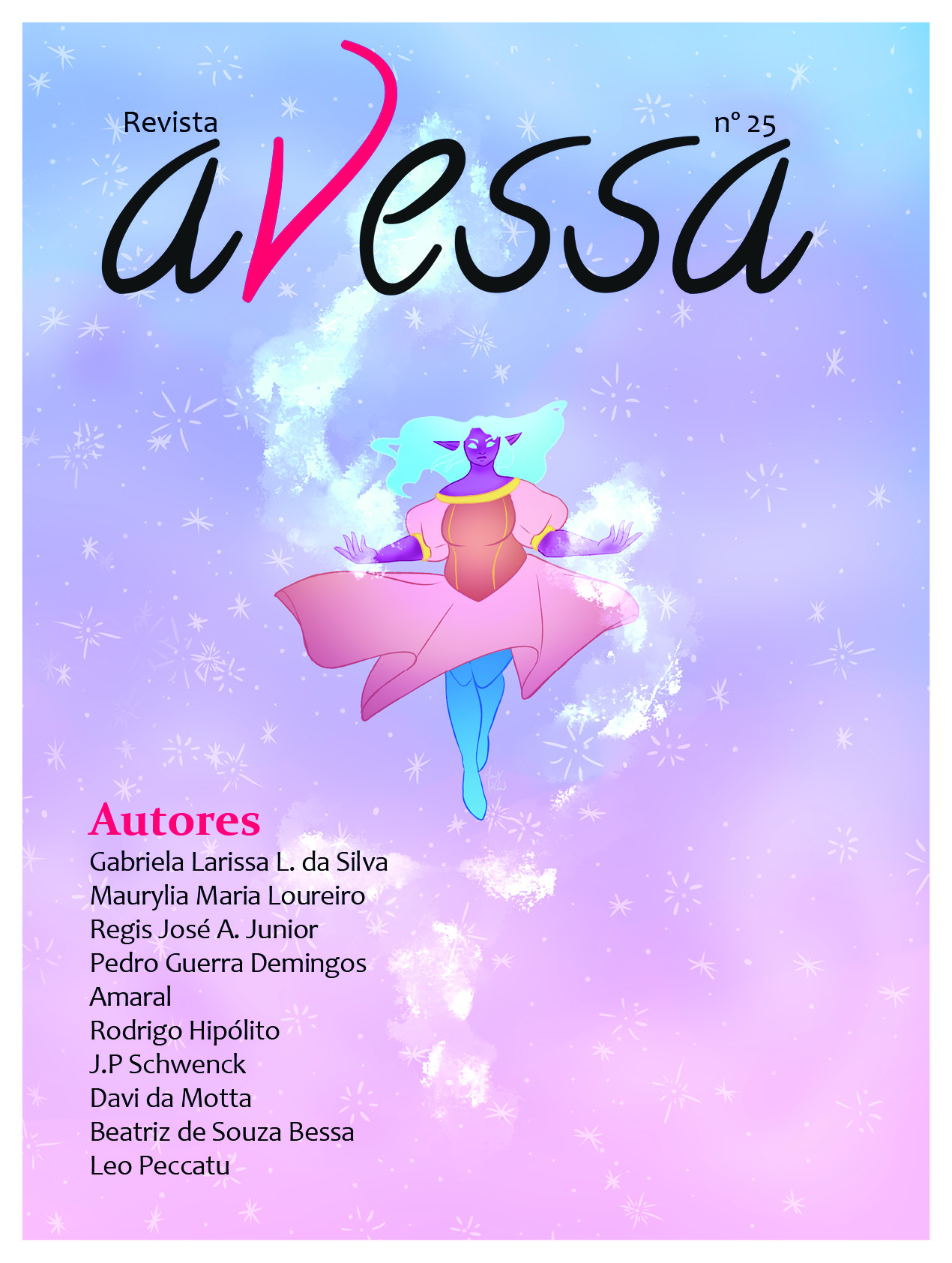 Capa da Avessa nº 25. A ilustração mostra uma elfa negra de vestido laranja e cabelos azuis flutuando contra um céu estrelado de cores pastéis. A sua volta, um brilho mágico azulado.